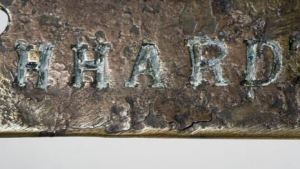 Part of the Leichhardt rifle nameplate found in the Northern Territory in the early 1900s