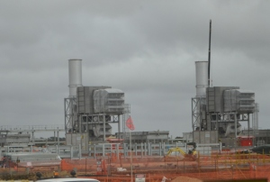 One of the Santos GLNG  gas compressor plants under construction near Roma.