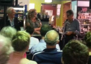 Paul Barclay (right) introduced Tim Dunlop and Rachel Buchanan at Avid bookshop, Brisbane
