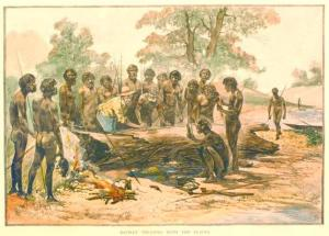"Members of the Kulin Nations, Port Phillip Bay, negotiating a ""treaty"" with John Batman, 1886. Original woodblock print, hand colored, published in the Garran Picturesque Atlas (1886). S.C. Heckwell, artist. Courtesy of the Koorie Heritage Trust (o110)."