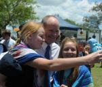 Premier Campbell Newman gets selfied at Wivenhoe Dam in 2013 (Photo: Derek Barry).