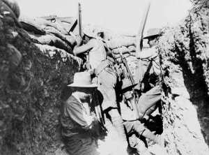Australian Light Horse troopers defend Quinn's Post at Gallipoli.