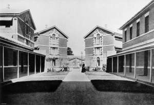 The quadrangle of Boggo Road Gaol, photographed in 1912 (courtesy QldPics).