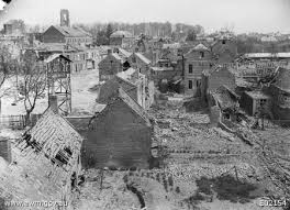 The ruins of Villers-Bretonneux photographed in April 1918 (Australian War Memorial).