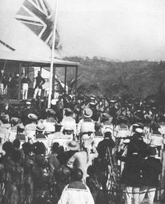 British flag raised in 1883 when Queensland annexed the southern part of New Guinea.